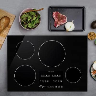 Built-In 30 in. Electric Induction Cooktop in Black with 4 of Elements Including Simmer Element