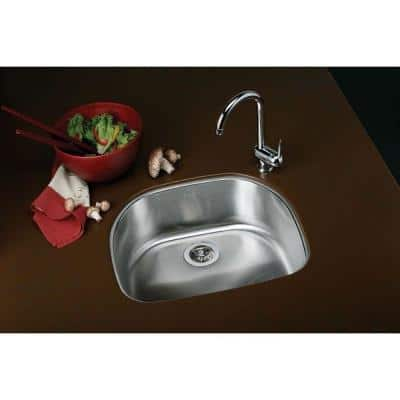 Signature Plus Undermount Stainless Steel 24 in. Rounded Single Bowl Kitchen Sink
