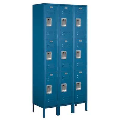 63000 Series 36 in. W x 78 in. H x 15 in. D - Triple Tier Metal Locker Assembled in Blue