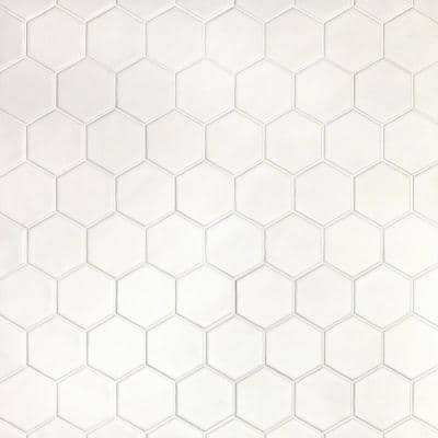 Maine Cement White 12 in. x 12 in. Hexagon Matte Ceramic Mosaic Floor and Wall Tile (0.96 sq. ft./Sheet)