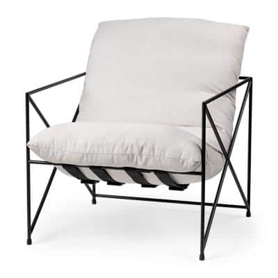 Leonidas Cream Upholstered Padded Seat and Black Metal Frame Accent Chair
