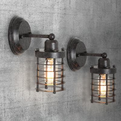 Industrial 1-Light Rustic Black Wall Sconce Modern Farmhouse Mini Wall Mount Light with Open Cage Shape