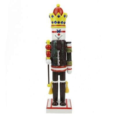 14 in. Brown and Red Tootsie Roll King Wooden Christmas Nutcracker