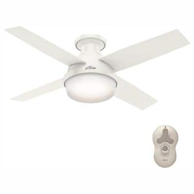 Dempsey 44 in. Low Profile LED Indoor Fresh White Ceiling Fan with Universal Remote