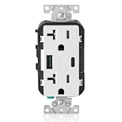 20 Amp Tamper Resistant Duplex Outlet with Type A and Type-C USB Chargers, White