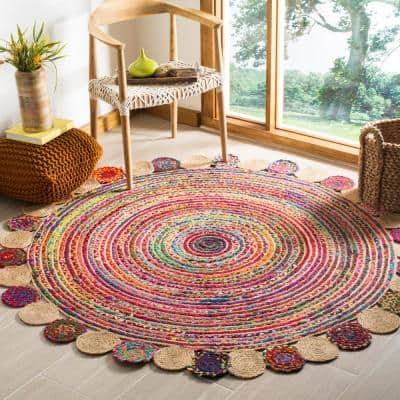 Cape Cod Red/Multi 6 ft. x 6 ft. Round Border Area Rug