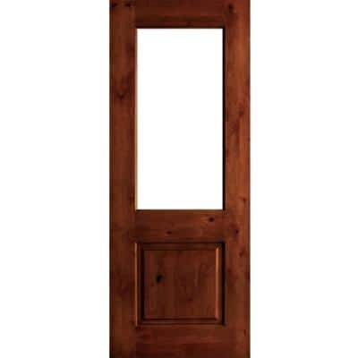 32 in. x 80 in. Rustic Knotty Alder Wood Clear Glass Half-Lite Red Chestnut Stain Left Hand Single Prehung Front Door