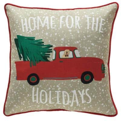 Home for the Holidays 18 in. Welted Decorative Pillow
