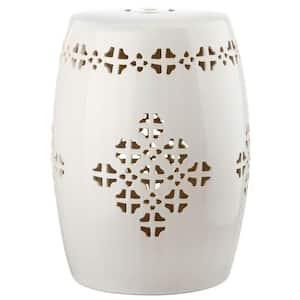 Quatrefoil Cream Ceramic Garden Stool