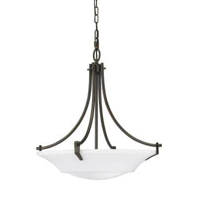 Barrington 3-Light Oil Rubbed Bronze Large Pendant with White Opal Etched Glass Shade