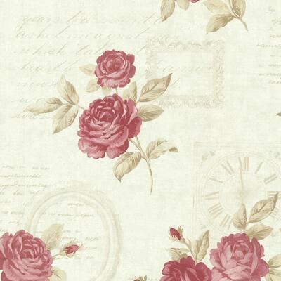 Venetia Mint Vintage Rose Toss Mint Wallpaper Sample