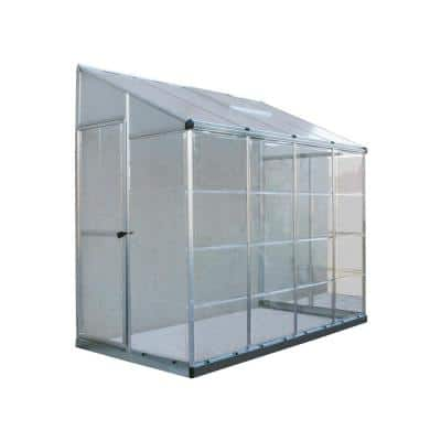 Lean To Grow House 8 ft. x 4 ft. Silver Hybrid Greenhouse
