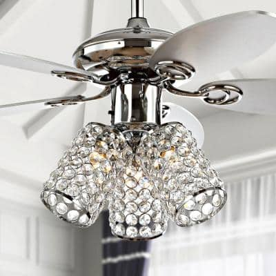 Kris 42 in. Chrome 3-Light Crystal LED Ceiling Fan with Light and Remote
