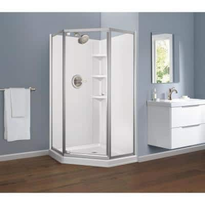 38 in. W x 74 in. H Neo-Angle Pivot Framed Corner Shower Enclosure in Chrome