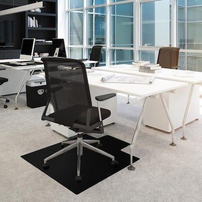 Advantagemat® Black Vinyl Lipped Chair Mat for Carpets - 36 in. x 48 in.