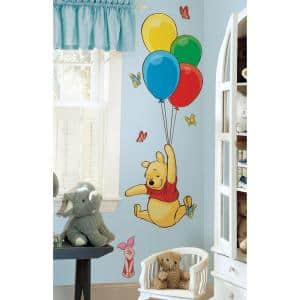 18 in. x 40 in. Winnie the Pooh - Pooh and Piglet 16-Piece Peel and Stick Giant Wall Decal - US/MEXICO/RUSSIA