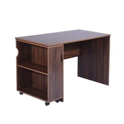 Midtown 47.4 in. Dark Brown Writing Desk with Movable Shelves