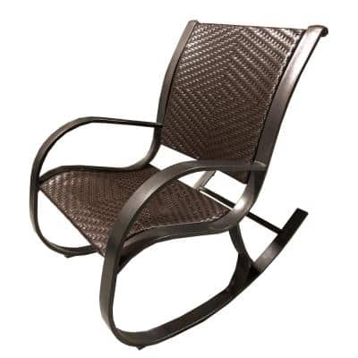 Luxury Brown Wicker Outdoor Rocking Chair