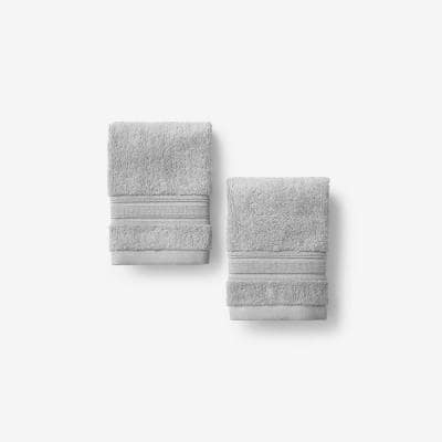 Company Cotton Silver Solid Turkish Cotton Wash Cloth (Set of 2)