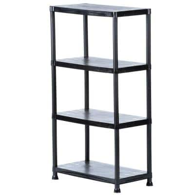 Black 4-Tier Plastic Garage Storage Shelving Unit (28 in. W x 52 in. H x 15 in. D)