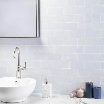 Raven Blue Celeste 3 in. x 6 in. Polished Marble Floor and Wall Tile (4 sq. ft./Case)