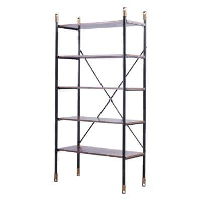 64 in. H Brown Wood 5-Shelf Standard Bookcase with Open Back and Slat Metal Frame