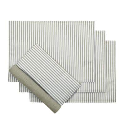 Plaza Stripe 18 in. x 12 in. Sage Polyester/Cotton Placemats ( Set of 4)