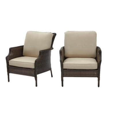 Grayson Brown Wicker Outdoor Patio Lounge with Sunbrella Beige Tan Cushions (2-Pack)