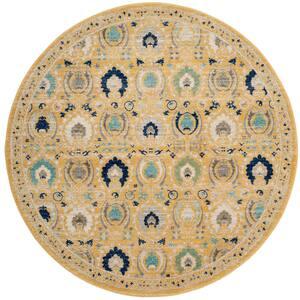 Evoke Gold/Ivory 7 ft. x 7 ft. Round Border Geometric Floral Area Rug