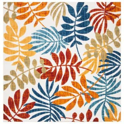 Cabana Cream/Red 3 ft. x 3 ft. Abstract Palm Leaf Indoor/Outdoor Square Area Rug