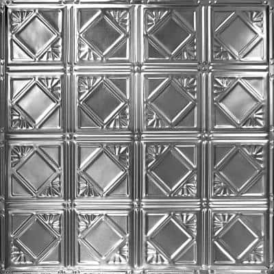 Pattern #19 in Brushed Satin Nickel 2 ft. x 2 ft. Nail Up Tin Ceiling Tile (20 sq. ft./Case)