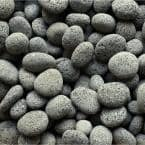 0.64 cu. ft. 50 lbs. 1 in. to 2 in. Black Smooth Lava Beach Pebble for Landscaping and Fire Features