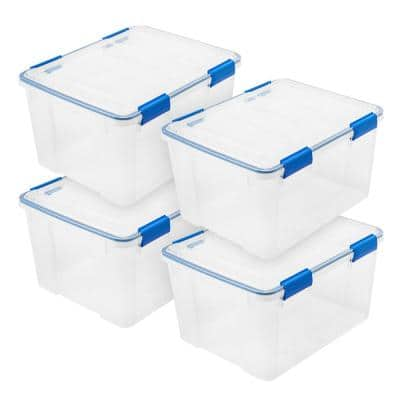 42 Qt. Gasket Storage Tote, with Latching Buckles, in Clear/Blue, (4 Pack)