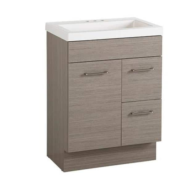 Glacier Bay Jayli 24 In W X 17 In D X 34 In H Bath Vanity In Haze With Cultured Marble Vanity Top In White With White Sink Ja24p2 He The Home Depot