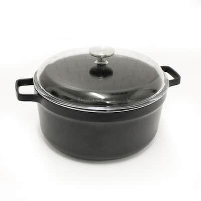 GEM 7.7 qt. Cast Aluminum Nonstick Stock Pot in Black with Glass Lid