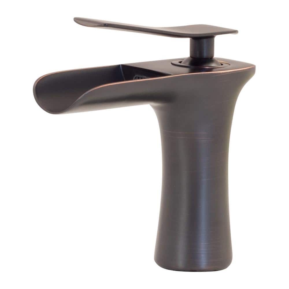 novatto vandy single hole single handle waterfall bathroom faucet in oil rubbed bronze gf 365sorb the home depot