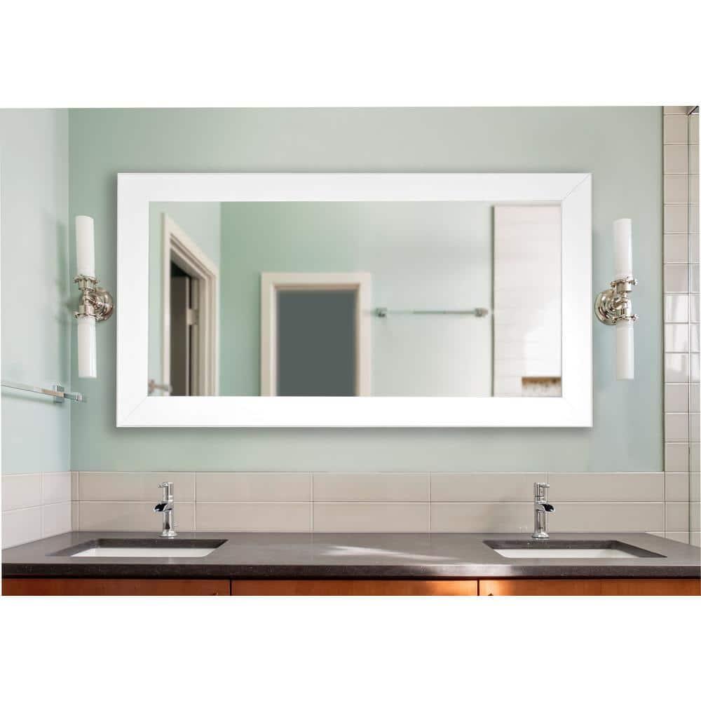 34 In W X 67 In H Framed Rectangular Bathroom Vanity Mirror In White Dv036l The Home Depot