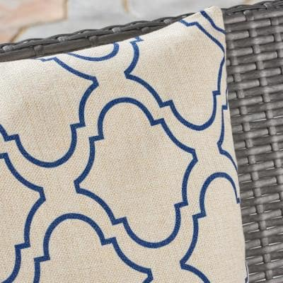 Moher Beige and Blue Square Outdoor Throw Pillows (Set of 4)