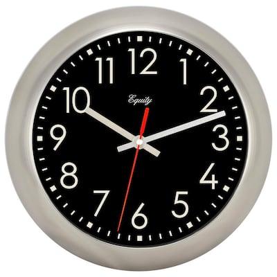 11 in. Brushed Titanium Owen Metal Silent Quartz Wall Clock
