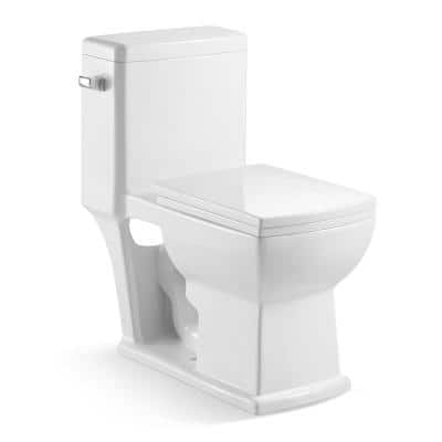 12 in. Rough-In One-Piece 1.28 GPF Single Flush Elongated Toilet in White, Seat Included