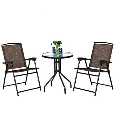 3-Piece Brown Outdoor Folding Bistro Set Patio Garden Furniture Set