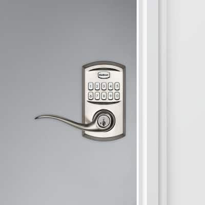 917 SmartCode Satin Nickel Electronic Single-Cylinder Tustin Door Lever Featuring SmartKey Security