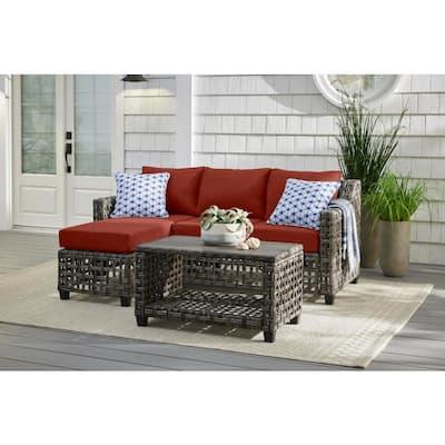 Briar Ridge 3-Piece Brown Wicker Outdoor Patio Sectional Sofa with Sunbrella Henna Red Cushions