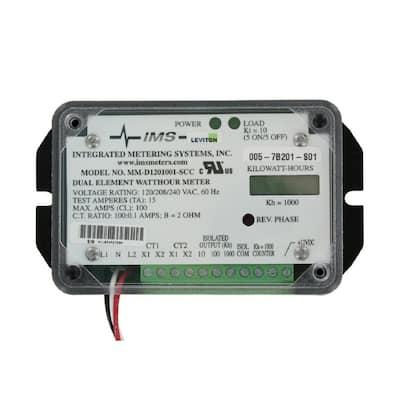 Mini Meter - Dual Element, 2PH, 3-Watt, 120-Volt, Individual, Self-Contained LCD Counter, 100:0.1, Black