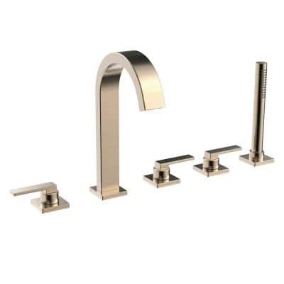 Lura 3-Handle Roman Tub Faucet with Hand Shower in Brushed Bronze