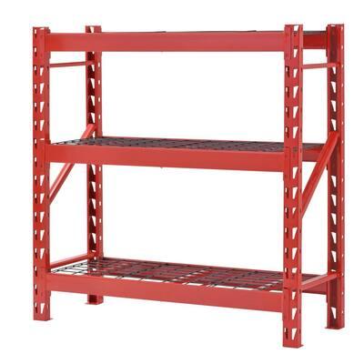 Red 3-Tier Welded Steel Garage Storage Shelving Unit (48 in. W x 48 in. H x 18 in. D)
