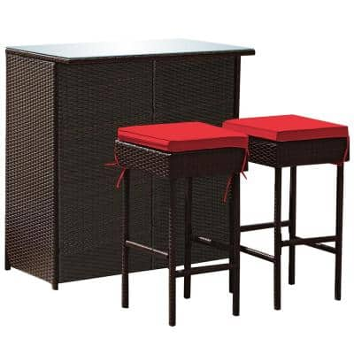 3-Piece Wicker Outdoor Dining Set with Red Cushion Patio Rattan Wicker Bar Table Stools