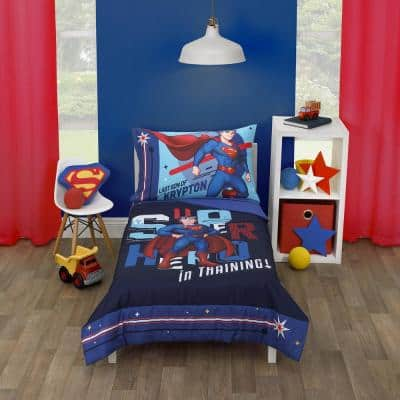 Super Hero in Training Blue and Red 4-PieceToddlerBedSetComforter Fitted Bottom and Flat Top Sheet Reversible Pillowcase