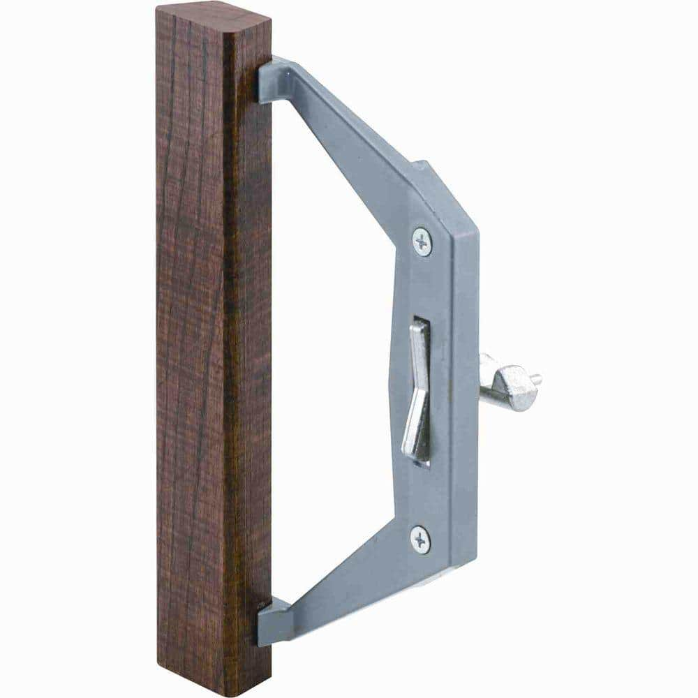 prime line gray diecast sliding door handle with wood pull c 1025 the home depot