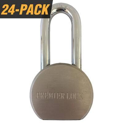 2-5/8 in. Premier Solid Steel Commercial Gate Keyed Padlock with Long Shackle and 72 Keys Total (24-Pack, Keyed Alike)